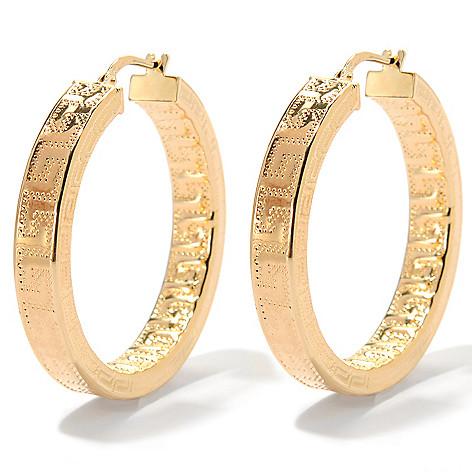 133-718 - Dettaglio™ 18K Gold Embraced™ 1.5'' Greek Key Hoop Earrings