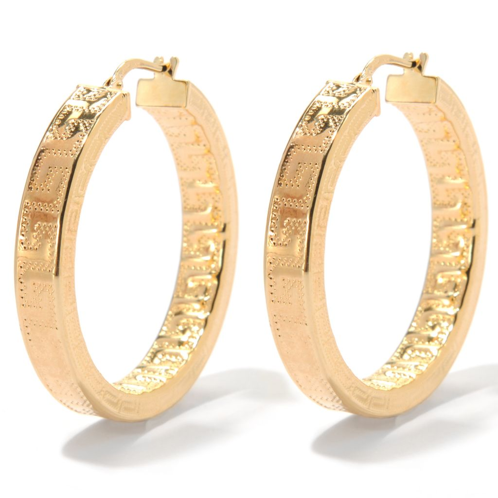 "133-718 - Dettaglio™ 18K Gold Embraced™ 1.5"" Greek Key Hoop Earrings"