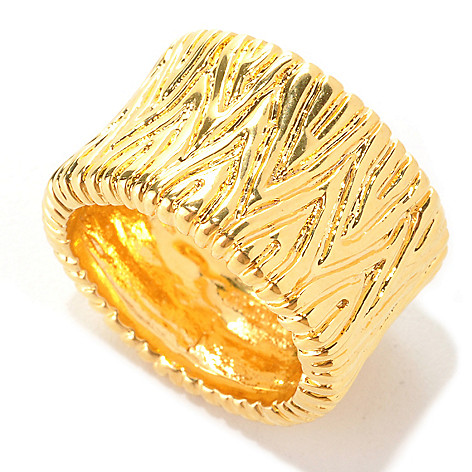 133-719 - Dettaglio™ 18K Gold Embraced™ Polished & Textured Cigar Band Ring