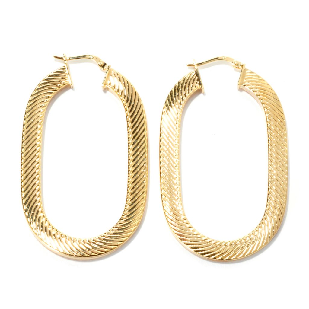 "133-722 - Dettaglio™ 18K Gold Embraced™ 2"" Diagonal Stripe Textured Oval Hoop Earrings"