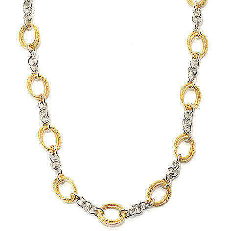 133-724 - Dettaglio™ 18K Gold Embraced™ 20'' Two-tone Double Oval Station Necklace