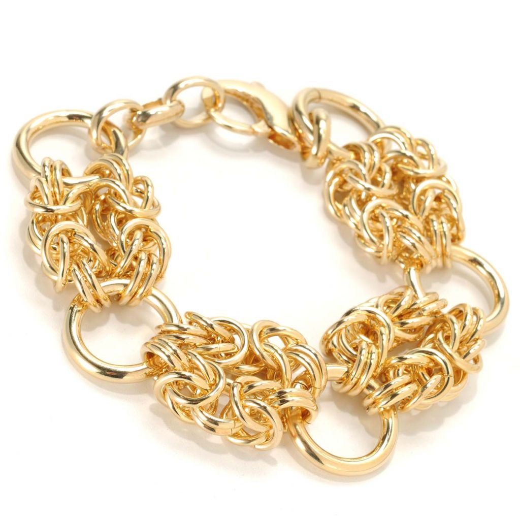 "133-726 - Dettaglio™ 18K Gold Embraced™ 8.25"" Double Byzantine Station Bracelet"