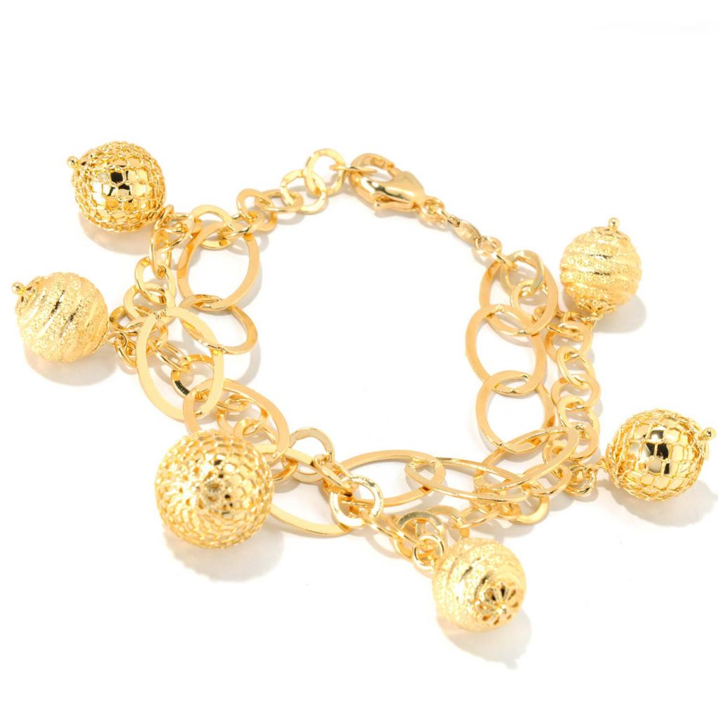 "133-729 - Dettaglio™ 18K Gold Embraced™ 7.25"" Textured Double-Strand Charm Bracelet"