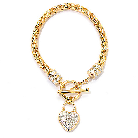 133-731 - Dettaglio™ 18K Gold Embraced™ 0.10ctw Diamond Heart Charm Toggle Bracelet