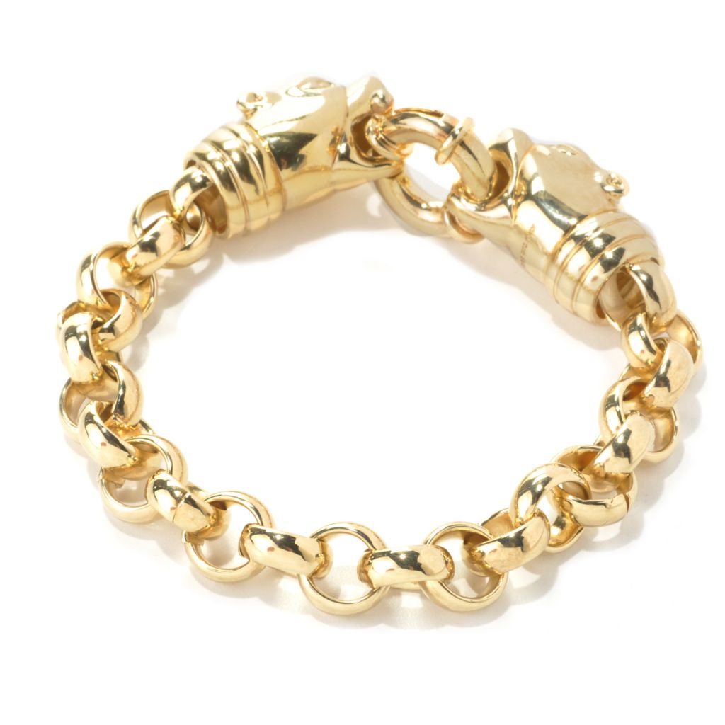 133-732 - Dettaglio™ 18K Gold Embraced™ Polished Double Panther Rolo Link Bracelet