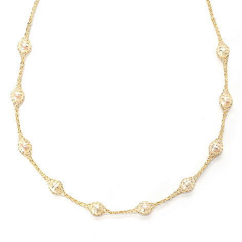 133-733 - Viale18K® Italian Gold 18'' 6mm Freshwater Cultured Pearl Mesh Necklace