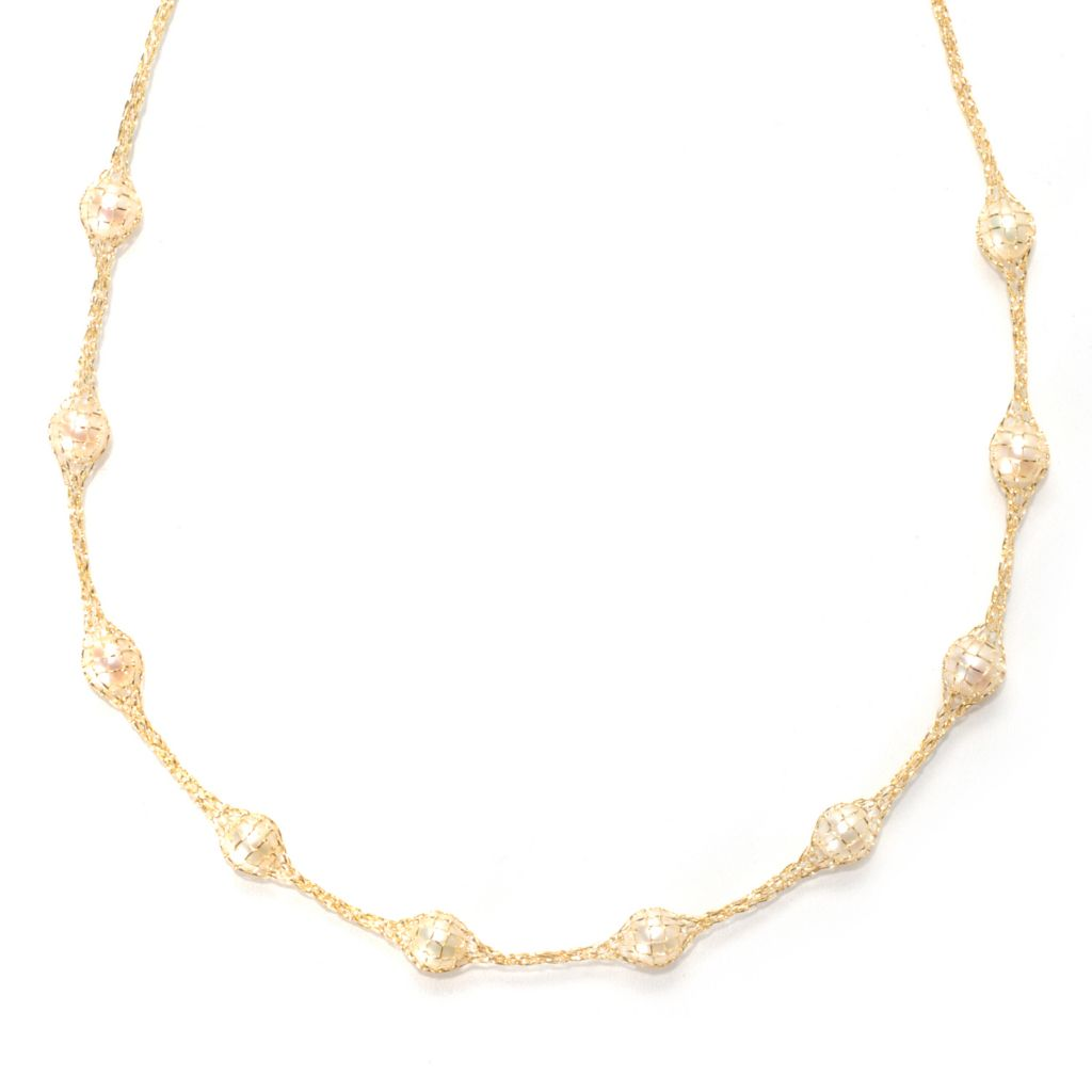 "133-733 - Viale18K® Italian Gold 18"" 6mm Freshwater Cultured Pearl Mesh Necklace"