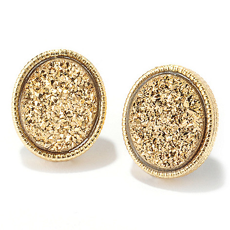 133-740 - Viale18K® Italian Gold 12 x 10mm Oval Golden Drusy Stud Earrings