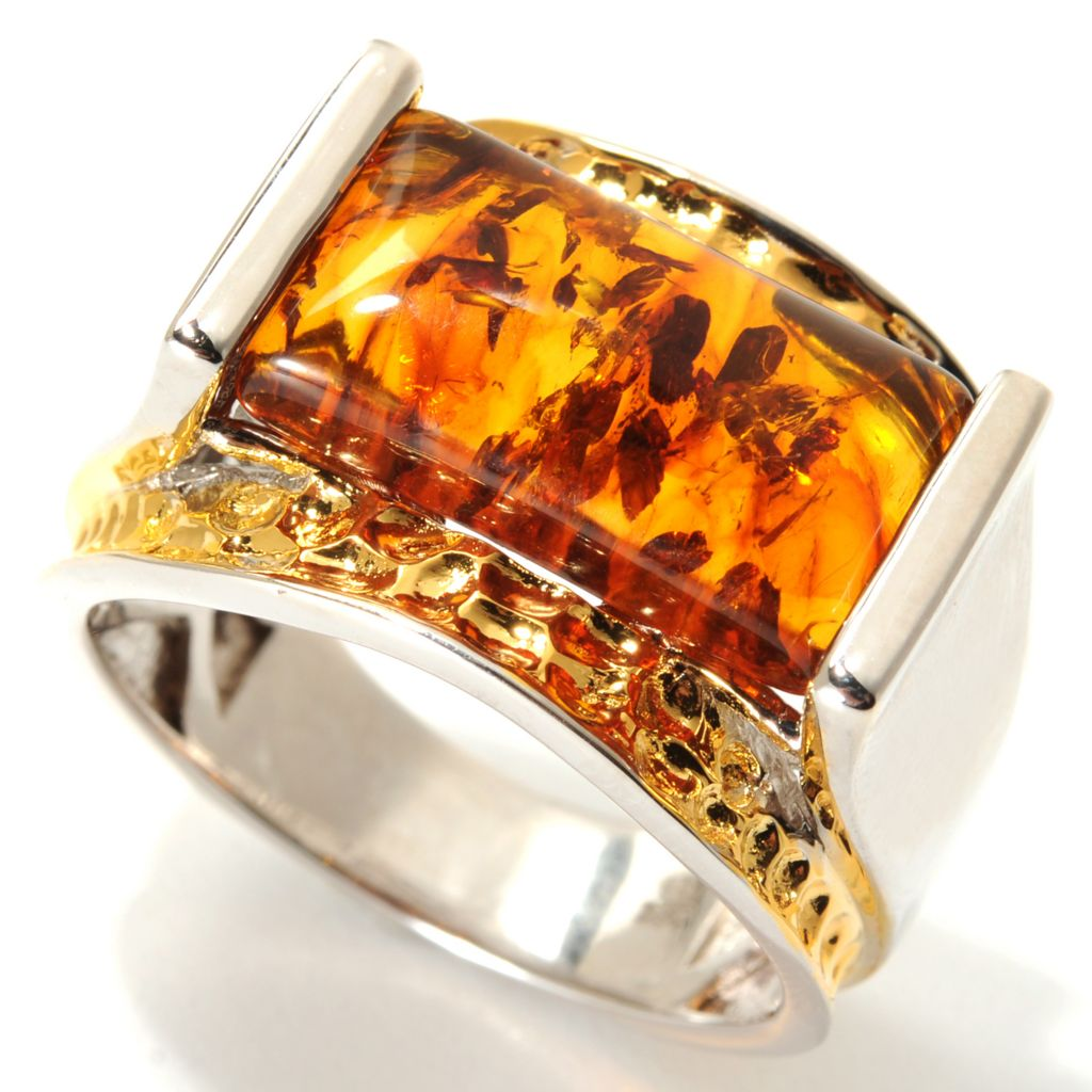 133-755 - Men's en Vogue II 17 x 9mm Baltic Amber Hammered Band Ring