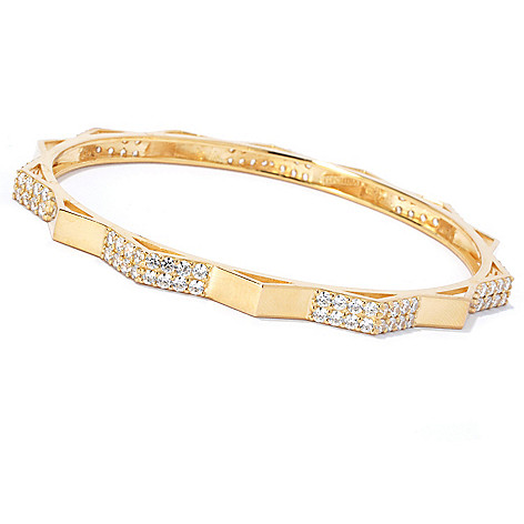 133-762 - Sonia Bitton Simulated Diamond Two-Row Zigzag Bangle Bracelet