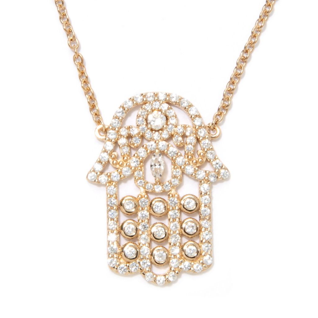 "133-763 - Sonia Bitton 18"" 1.59 DEW Marquise & Round Simulated Diamond Hamsa Necklace"
