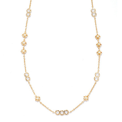 133-764 - Sonia Bitton Gold Embraced™ 2.55 DEW Simulated Diamond Bezel Set Flower Station Necklace