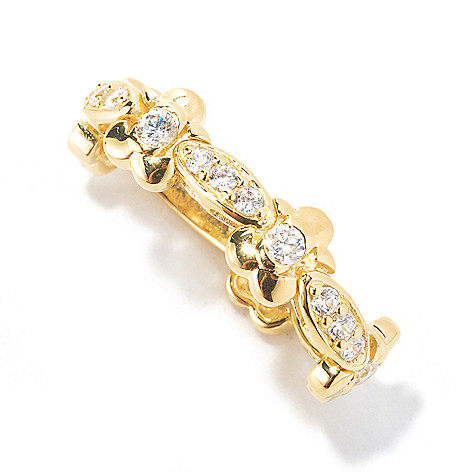 133-765 - Sonia Bitton Pave & Burnished Simulated Diamond Flower Link Flex Ring