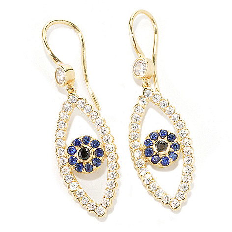 133-769 - Sonia Bitton Gold Embraced™ 1.80 DEW Simulated Gemstone Evil Eye 1.5'' Drop Earrings