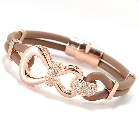 133-771 - Sonia Bitton Simulated Diamond Figure-Eight Two-Strand Rubber Bracelet