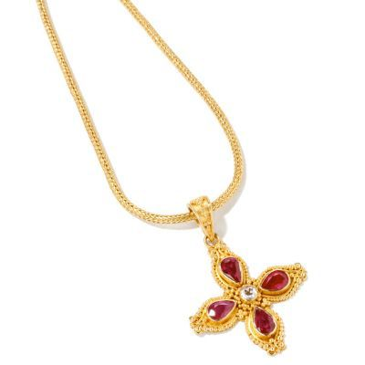 133-784 - SoHo Boutique 22K Gold Diamond &Ruby Cross Pendant w/ Chain