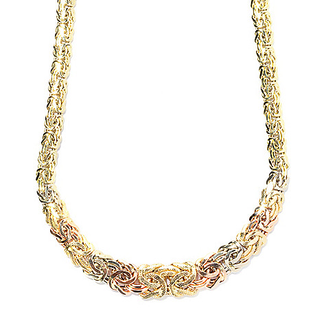 133-817 - Italian Designs with Stefano 14K Tri-color Gold 18'' Graduated Byzantine Necklace, 13.58 grams
