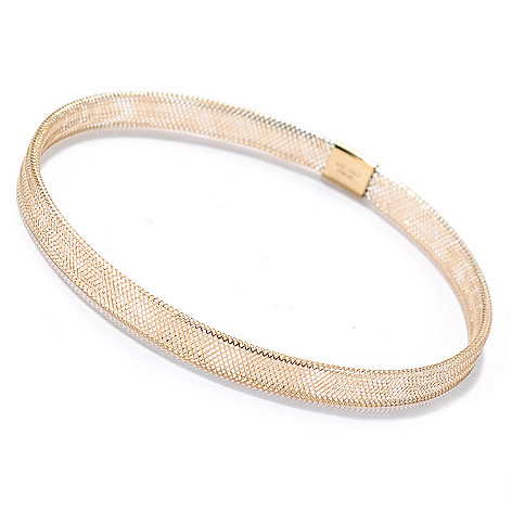 133-835 - Italian Designs with Stefano 14K Gold 6.75'' Woven Stretch Bangle Bracelet
