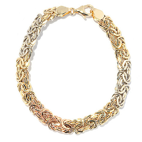 133-843 - Italian Designs with Stefano 14K Tri-tone Gold 7.75'' Polished Byzantine Bracelet, 5.79 grams