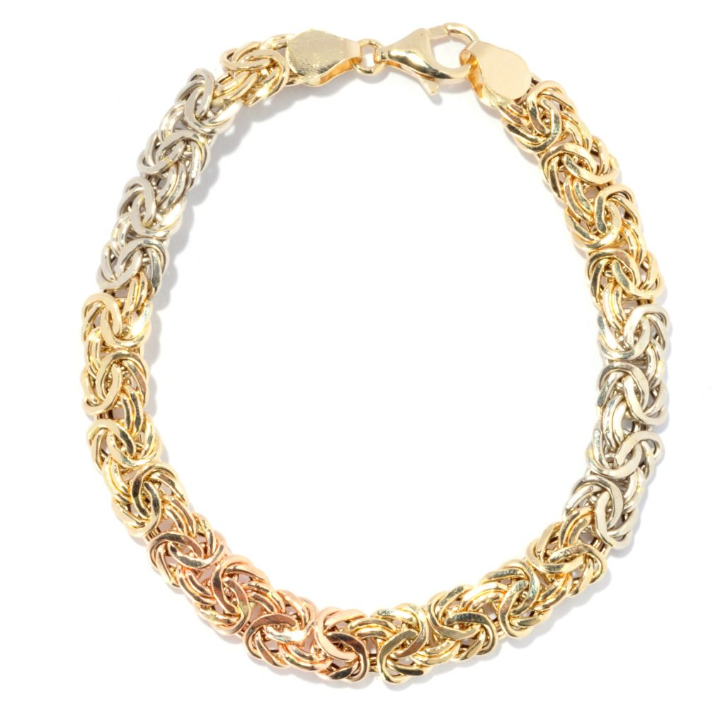 "133-843 - Italian Designs with Stefano 14K Tri-tone Gold 7.75"" Polished Byzantine Bracelet, 5.79 grams"