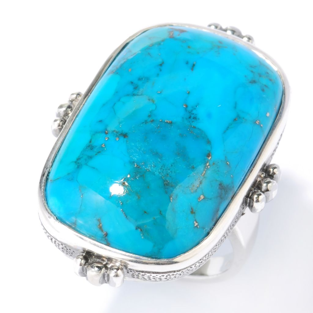 133-845 - Gem Insider Sterling Silver 28 x 18mm Turquoise Elongated Ring