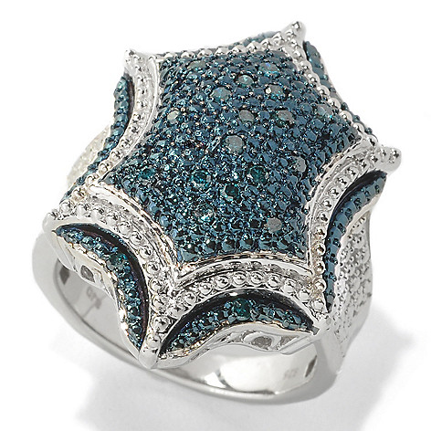 133-846 - Diamond Treasures Sterling Silver 0.25ctw Fancy Color Diamond Beadwork Ring