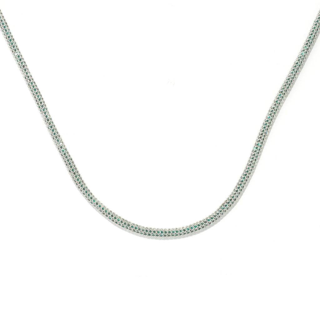 133-849 - Dallas Prince Designs Sterling Silver Mesh Necklace Made w/ Swarovski® Elements