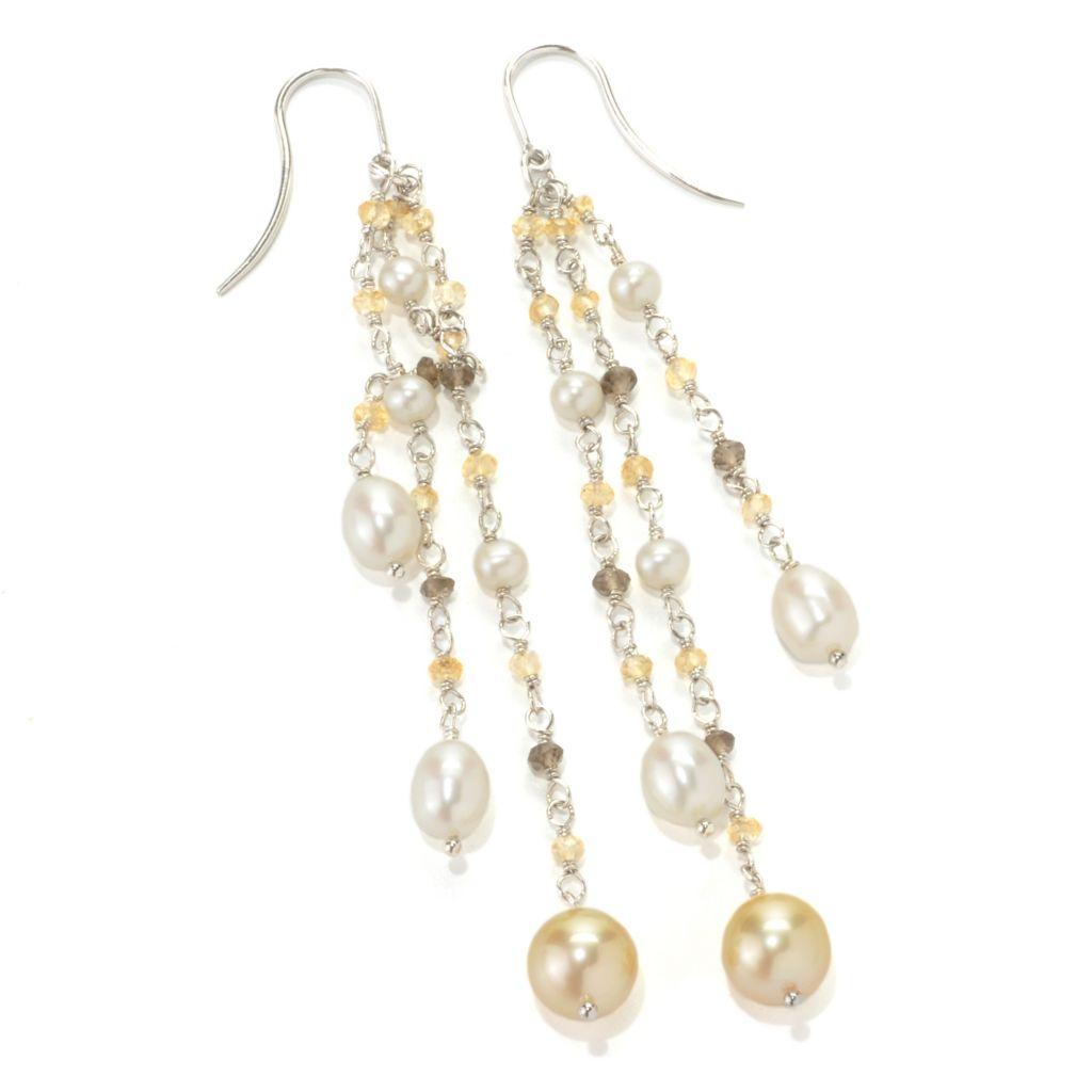 "133-853 - Sterling Silver 2.5"" 8-9mm South Sea & Freshwater Cultured Pearl Dangle Earrings"