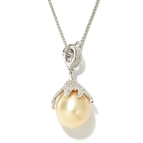 133-856 - Sterling Silver 11-12mm Golden South Sea Cultured Pearl & Diamond Pendant w/ 18'' Chain