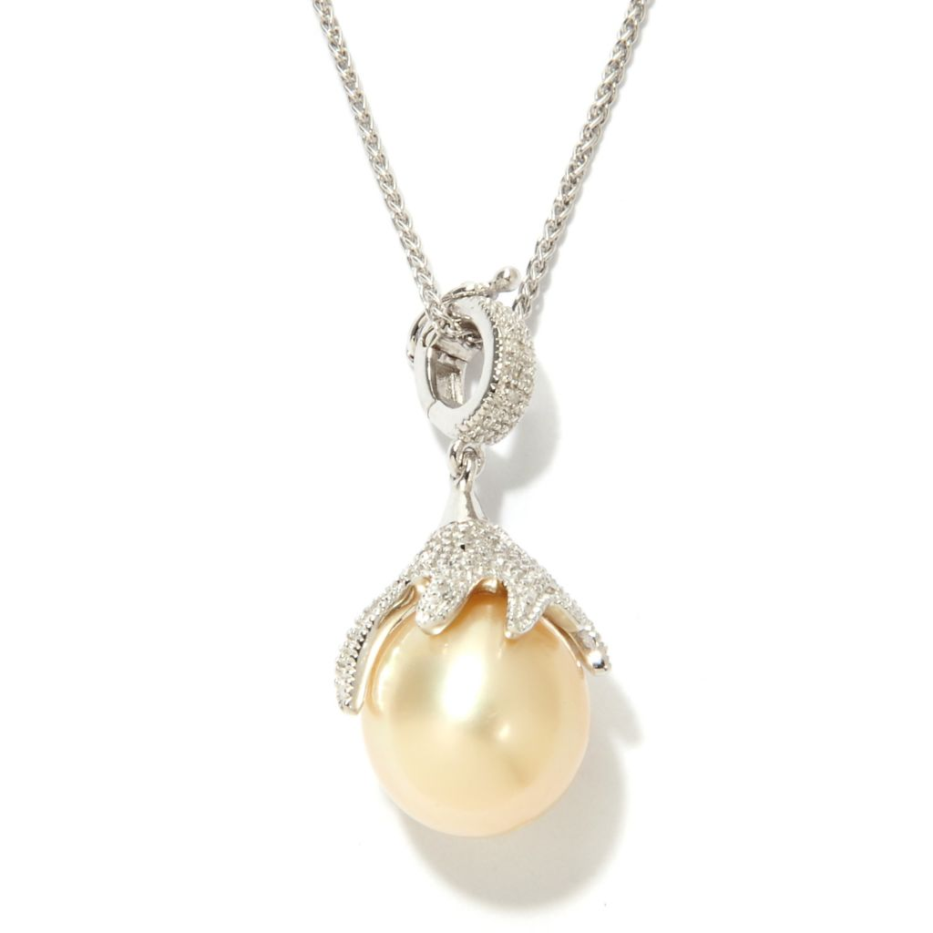 "133-856 - Sterling Silver 11-12mm Golden South Sea Cultured Pearl & Diamond Pendant w/ 18"" Chain"