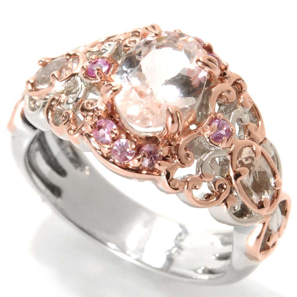 133-857 - Gems en Vogue 1.51ctw Morganite & Pink Sapphire Butterfly Band Ring