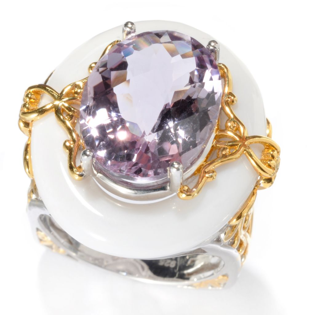 133-859 - Gems en Vogue II 18.44ctw Oval Pink Amethyst & White Agate Square Band Ring
