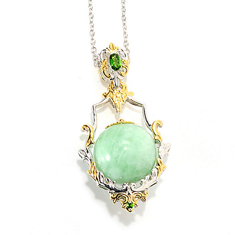 133-861 - Gems en Vogue 18mm Green Amazonite Bead & Chrome Diopside Pendant w/ 18'' Chain