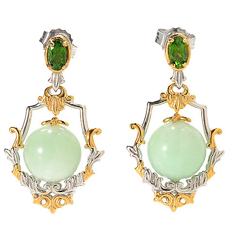 133-862 - Gems en Vogue II 1.25'' 10mm Green Amazonite Bead & Chrome Diopside Drop Earrings
