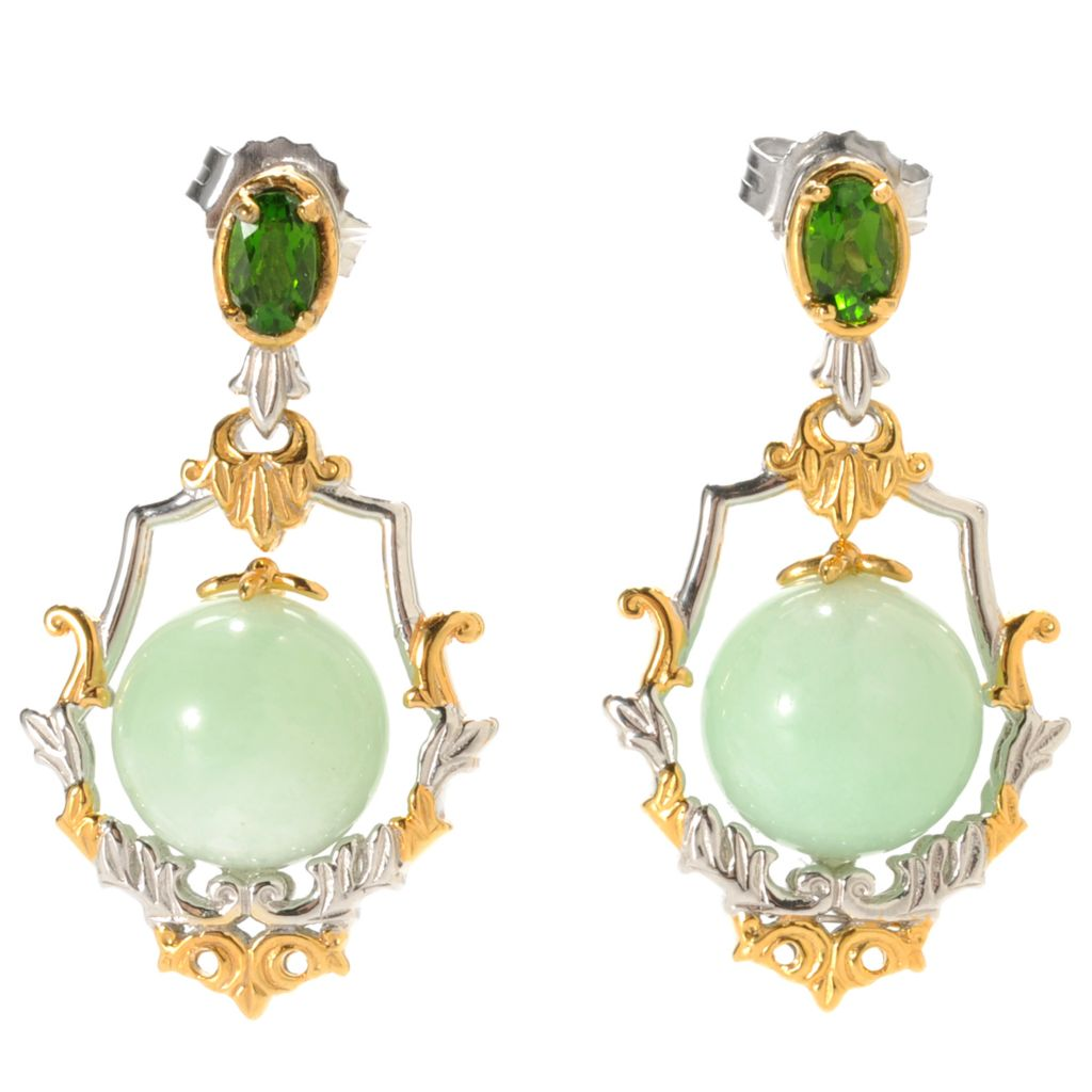 "133-862 - Gems en Vogue 1.25"" 10mm Green Amazonite Bead & Chrome Diopside Drop Earrings"