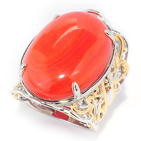 133-865 - Gems en Vogue 25 x 18mm Oval Bamboo Coral & Orange Sapphire Ring