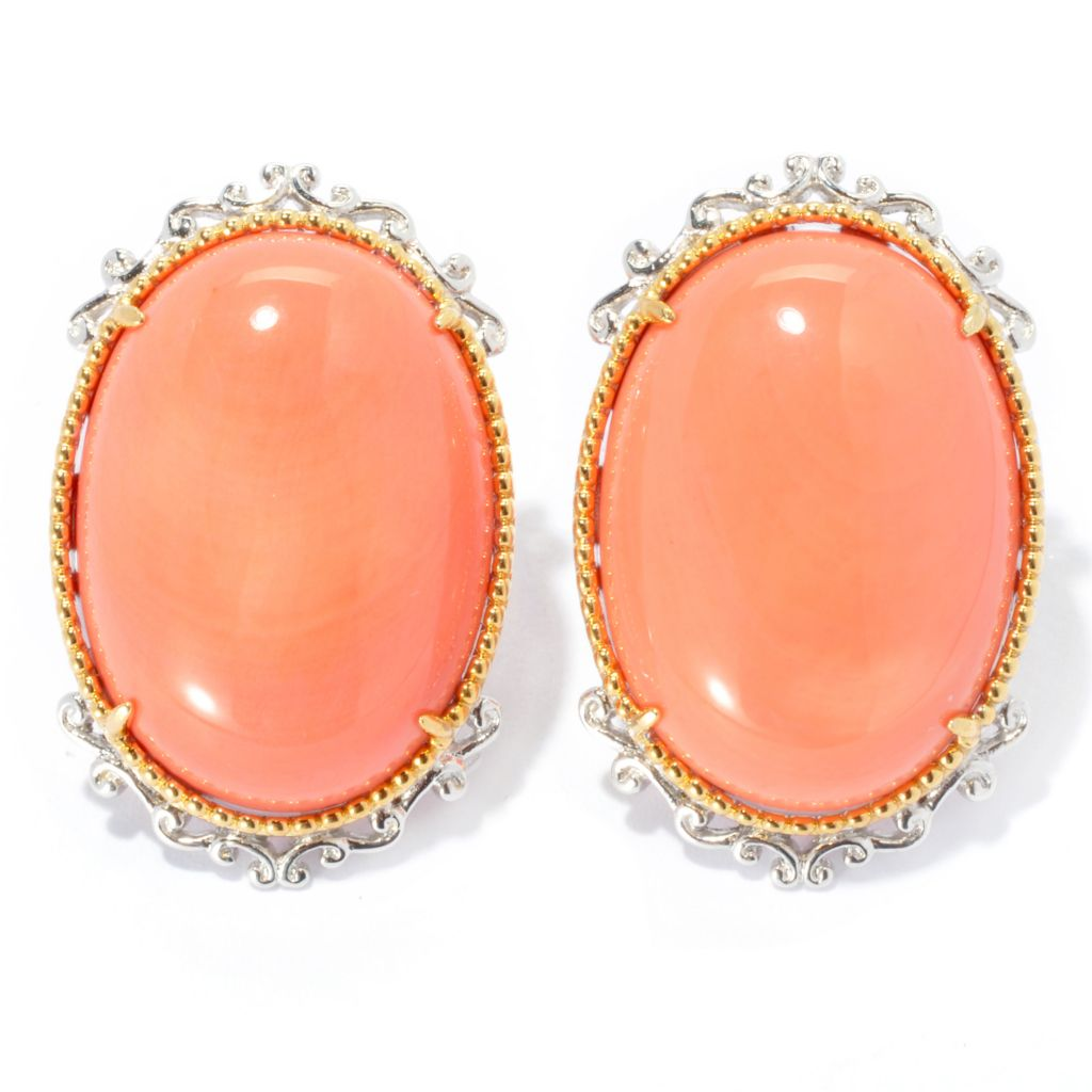 133-866 - Gems en Vogue 25 x 18mm Oval Bamboo Coral Button Earrings w/ Omega Backs
