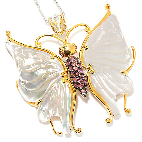 133-868 - Gems en Vogue II 47 x 21mm Carved Mother-of-Pearl & Pink Tourmaline Butterfly Pendant w/ Chain