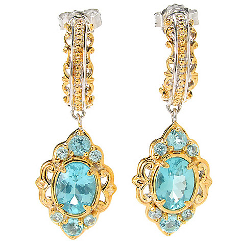 133-871 - Gems en Vogue II 1.25'' 3.16ctw Oval Blue Apatite Drop Earrings