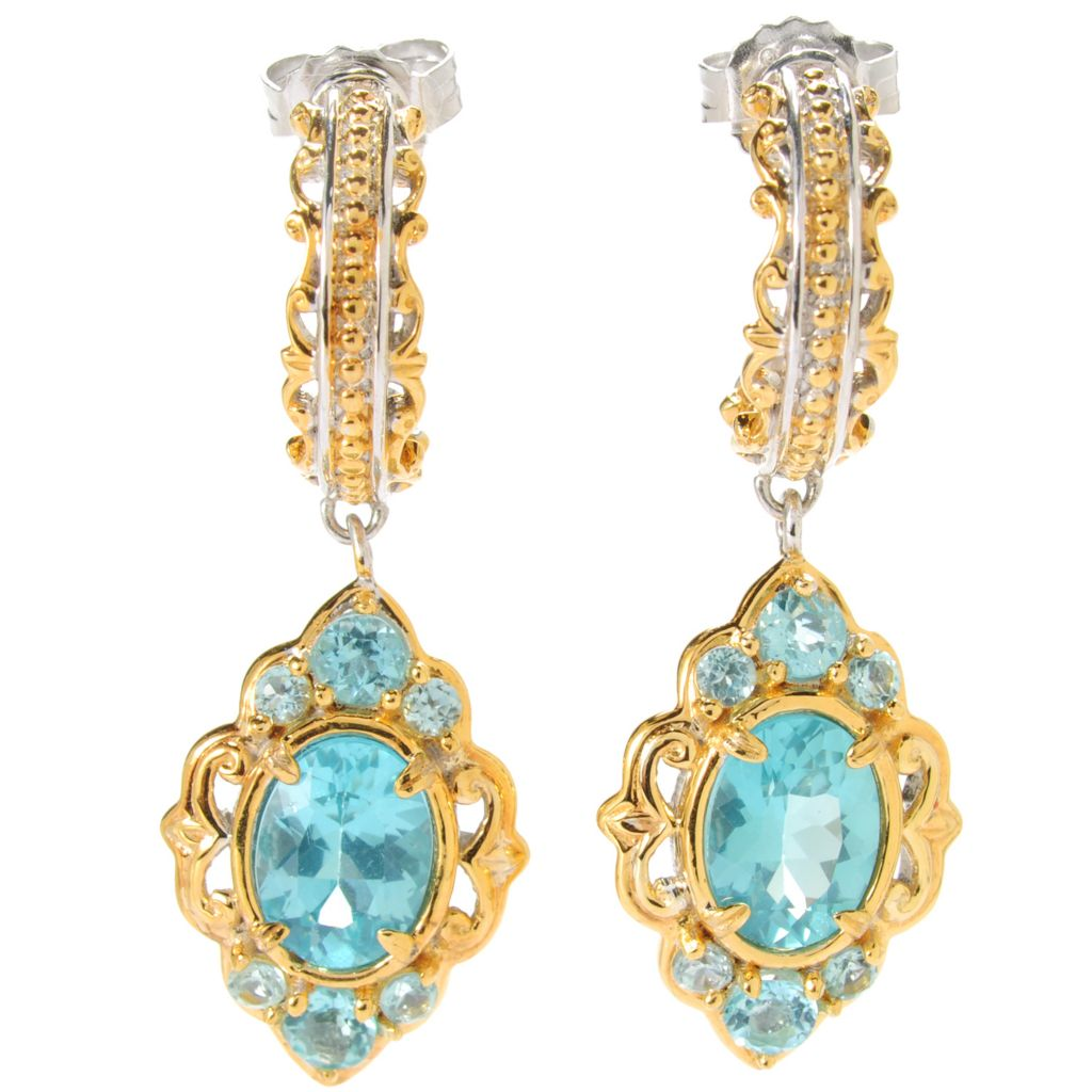 "133-871 - Gems en Vogue 1.25"" 3.16ctw Oval Blue Apatite Drop Earrings"