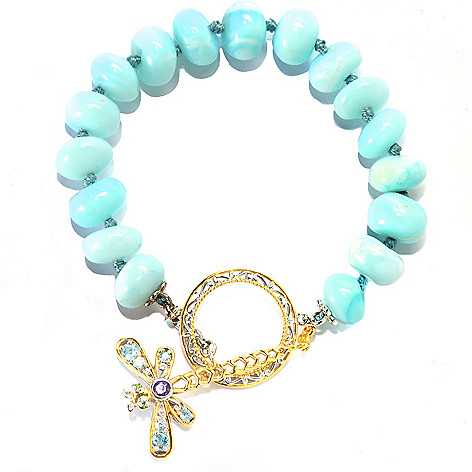 133-873 - Gems en Vogue II 7.5'' 10mm Blue Opal & Multi Gemstone Dragonfly Toggle Bracelet