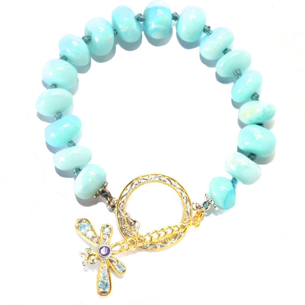 "133-873 - Gems en Vogue II 7.5"" 10mm Blue Opal & Multi Gemstone Dragonfly Toggle Bracelet"