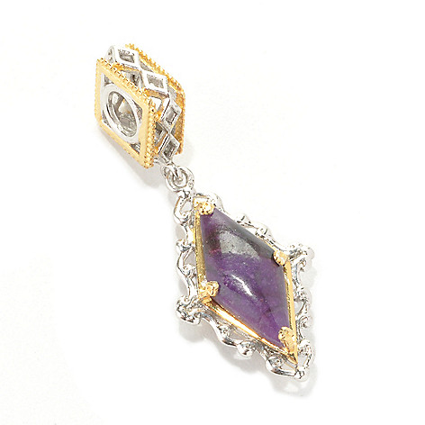 133-876 - Gems en Vogue II 14 x 7mm Sugilite Double-Sided Diamond Shaped Drop Charm