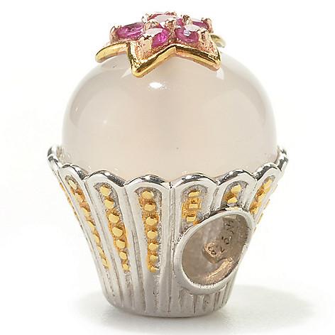 133-878 - Gems en Vogue 11mm Pink Chalcedony & Pink Sapphire Cupcake Charm