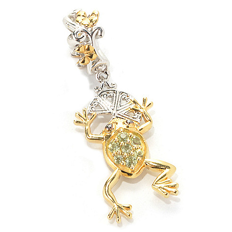 133-880 - Gems en Vogue Peridot Frog & Lily Pad Double-Sided Drop Charm