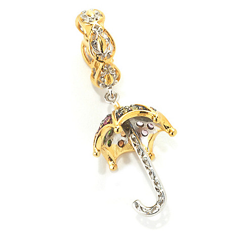 133-884 - Gems en Vogue Sapphire, Ruby & Chrome Diopside Umbrella Drop Charm