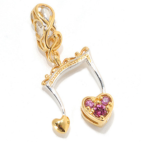133-886 - Gems en Vogue Rhodolite Garnet Music Note Drop Charm