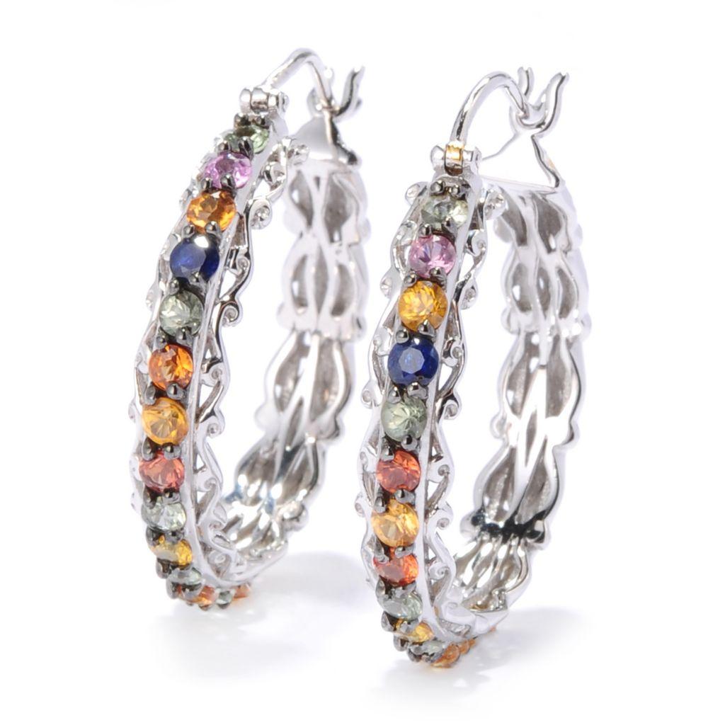 """133-891 - Gems en Vogue 1.25"""" 2.24ctw Multi Sapphire Hoop Earrings"""