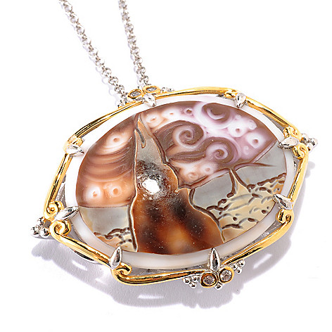 133-892 - Gems en Vogue 40 x 30mm Carved Tiger Shell Cameo ''Starry Night'' Pendant w/ Chain