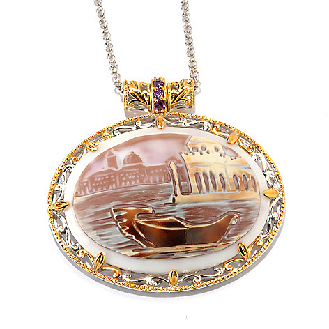 133-894 - Gems en Vogue 40mm Hand-Carved Tiger Shell ''Venice'' Cameo Pendant w/ Chain